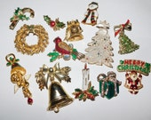 Vintage Christmas Jewelry lot Brooches Pendants and more for repair or altered art projects