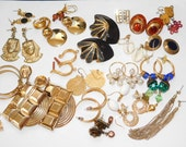 Large Gold toned Earring lot for wear repurpose or upcycle