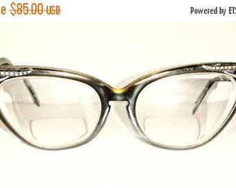 30% HEART DAY SALE Vintage Cat Eye Glasses - 1950s Chocolate Brown Glasses