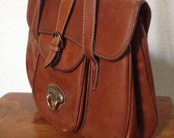 Vintage Brown Leather Handbag / Shoulder Purse