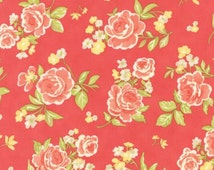 Moda Fig Tree Strawberry Fields Revisited Quilt Fabric Floral Rose Dk Pink By The 1/2 Yard