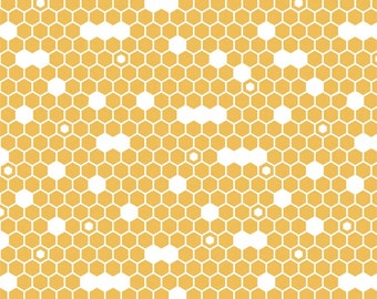 Yellow Hexi 100%  Cotton Fabric in Yard 3/4 Half and 1/4 Fine and Dandy by Lori Whitlock for Quilting/ Sewing Applique Riley Blake Fabric