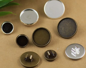50 Brass 10mm/ 12mm/ 14mm/ 16mm/ 18mm/ 20mm Round Bezel Setting W/ Adjustable Loop, 2 colors- Antique Bronzed / Silver Plated - Z7466
