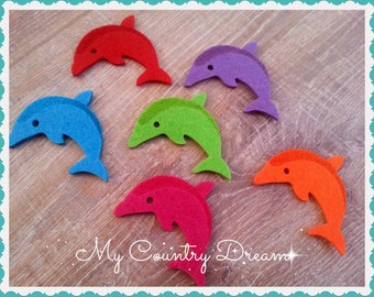 Felt Dolphin shapes die cut felt shapes Arts and crafts felt animals