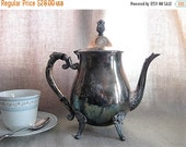 Happy 4th with 40% Off Vintage Leonard Silver Plate Teapot / Shabby Silver Plate Coffee or Teapot / Cottage Chic Silverplate for Wedding Rec