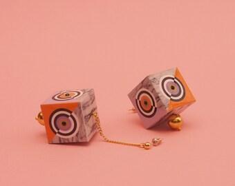 """Geometric Earrings // Marble Earrings // Graphic Earrings // Statement Jewelry // Art Deco // Mod Earrings // 60s Inspired // The """"Trance"""""""