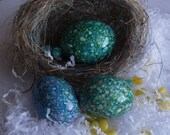 Magick Marbled  Duck Egg Trio For Your Basket