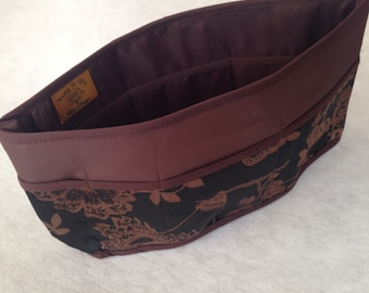 Purse To Go(R)Pockets Plus-Purse organizer insert transfer liner in Elegance Print- Extra Jumbo size-Enclosed bottom