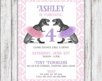 TRex Tutu Party Invites