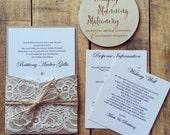 Wedding invitation Rustic Kraft pocket wedding invitations - SAMPLE - Rustic vintage lace pocket wedding invitation