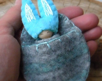 Easter Bunny, Waldorf Inspired, small peg doll, Bunny Gnome, Rabbit, Spring, Turquoise, Gray, Upcycled Wool, Easter Basket Toy, gift for boy