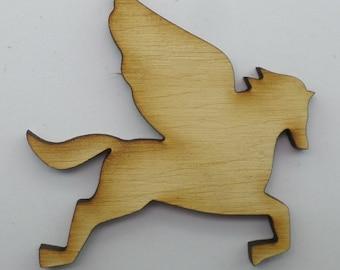 Wood Brooch - Pegasus - BRO008