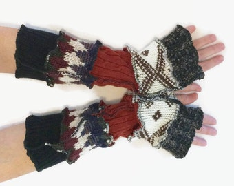 Upcycled Fingerless Gloves  Brown Cream Black Armwarmers Recycled Wrist warmers Stripe Knit Fingerless Mittens fashion accessories