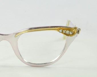 Tura Cat Eye Glasses, Pale Lavender with Gold Leaf and Pearls, 1950s, 1960s