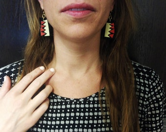 Hand cut basketweave x chevron x red and tan polyurethane and black leather earrings