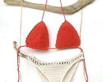 Crochet bikini top in coral, Crochet bikini bottom in cream, Crochet bikini, Gift for her, Crochet swimsuit, Brazilian bikini, cheeky bikini