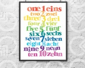 """Instant Download - Printable - 8""""x10"""" Art Print - German and English Numbers - Nursery Decor - Bilingual Baby - Colorful - Educational"""