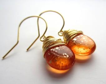 Orange Earrings Wire Wrapped Jewelry Handmade Golden Speckles Summer Fashion Boho Jewelry Czech Glass Earrings Tear Drop Earrings