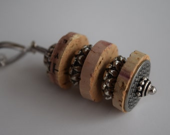Wine Cork Pendant with Silver Accents