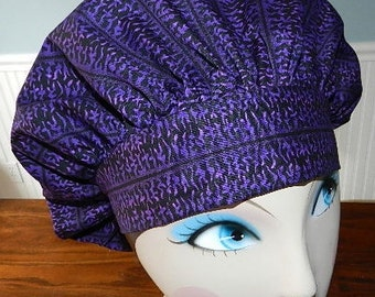 Purple Squiggles Banded Bouffant Surgical Cap by Nurseheadwear