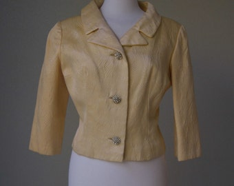 Late 50s Early 60s G Fox & Company Textured Satin Jacket with Rhinestone Buttons // Yellow // Medium Large // Brocade