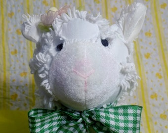 "Vintage Chenille Baby Lamb/Sheep Plush Animal ~ ""Mary had a Little Lamb""  ~ Mid-Century Handmade Lamb Chenille Toy"