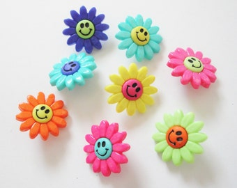 Flower Power Buttons 8pc. Flower Smiley Face Buttons. Happy Face Buttons. Daisy Buttons.