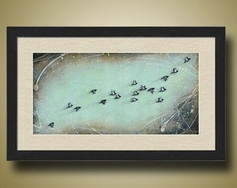 PRINT or GICLEE Reproduction -- Flock of Birds, Teal Art, Abstract Birds Flying - Limited Edition Print by Britt Hallowell