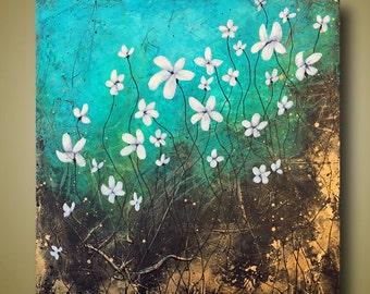 Abstract Flowers Painting - Home Decor - White Flowers - Modern Flower Art 30x30 by Britt Hallowell