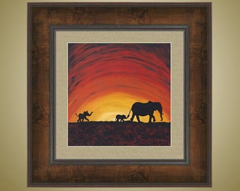 PRINT or GICLEE Reproduction -- Elephant Mother and Babies -- African Sunset -- Mara Dreams