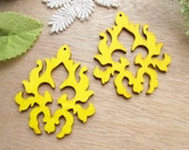 WP31 / # 1 Yellow / Wood Filigree Tear Lace Dangle For Earring/Laser Cut Lace Charm / Pendant /  Filigree Wood Gift /Light earrings