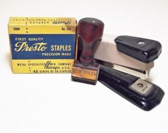 Vintage Office Supplies Arrow Stapler Presto Staples Tom Foley Name Stamp 1950 Mad Men Era Office