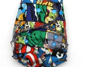 One Size Fitted Hybrid Diaper made with Marvel Squares Cotton Fabric