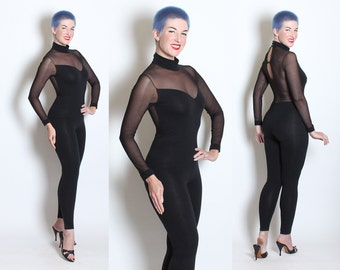 SEX KITTEN 1960's Inky Black Stretch Cotton Second Skin Hourglass Catsuit Jumpsuit w/ Sheer Stretch Mesh Illusion Bodice by Lady Lynne - M
