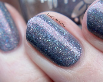 """Nail polish - """"Shadow on the Moon"""" Grey linear holographic polish with pink shimmer and silver glitter"""