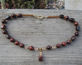 Red Tiger Eye and Swarovski Crystal Necklace