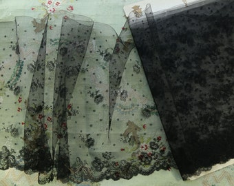 """Antique silk chantilly French 13"""" wide dot lace black trim lovely airy tulle  millinery French dolls dress"""