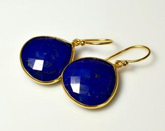 LP 1285  Deep Cobalt Blue Heart Shaped Lapis Earrings