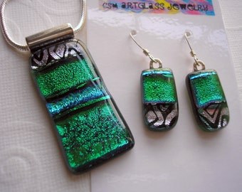 Matching Dichroic Glass Jewelry Set Emerald Isle Green Pendant and Earrings Kiln Fused Iridescent Colors St Patricks Day Necklace Home Made