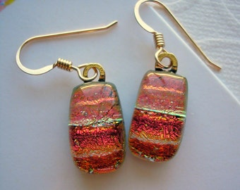 Earrings Dichroic Copper Delight 14K Gold Earwires Fused Sparkly Glass Earrings Dangle Drop Earrings Fused Glass Jewelry Iridescent Glass