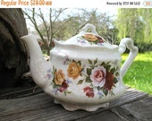Antique Arthur Wood Tea Pot With Shabby Chic Roses In Burgundy Rose And Gold The  Crazing is Gorgeous