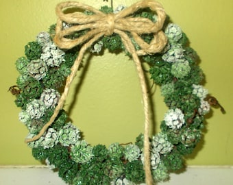 6.5in  Shades of Green Grapevine Wreath, All Natural w/Tendrils, OOAK Country FREE SHIPPING!
