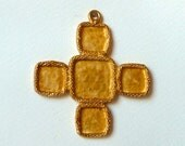Large Gold Plated Cross Pendant Blank with Cabochon Settings - Strong Heavy Vintage Religious Cross Casting (cc1)