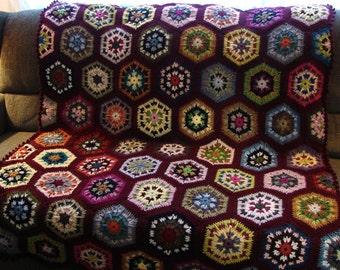 Handmade Crochet Burgundy Edged Multi-Colored Kaleidoscope Afghan 48 x 68