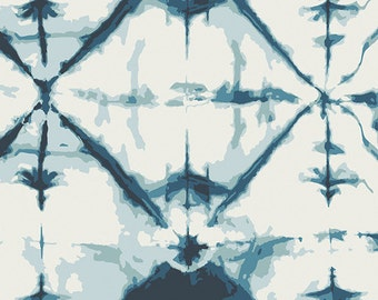 Cream and Navy Blue Tie Dye Look Geometric Voile, Observer by April Rhodes For Art Gallery, Indigo Window in Crystal, 1 yard