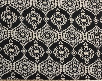 Black and Cream Geometric Diamond Rayon Challis, 1 yard