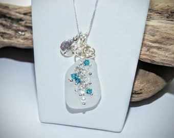 Sea Glass Necklace - Crystal Necklace - Lake Erie Beach Glass