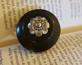 Silver and Black Flower Button Ring