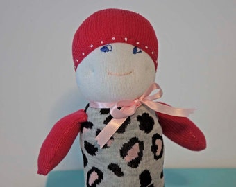"""EYE-CATCHING 9"""" Tall sock doll in leopard print with contrasting hat and arms in rose"""