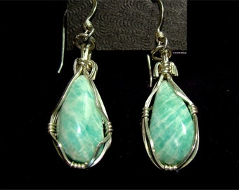 Handmade STERLING Silver Earrings w/ AMAZONITE Stone